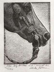 "I like big buckles and I cannot lie, Wood Engraving 4""x3"", 10x7.5cm"