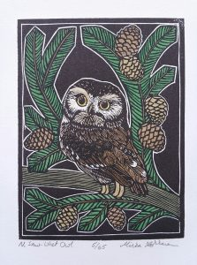 "N. Saw-Whet Owl, Wood engraving, watercolor, 4""x3"", 10x7.5cm"
